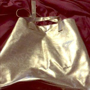 Large Metallic DKNY tote overnight bag